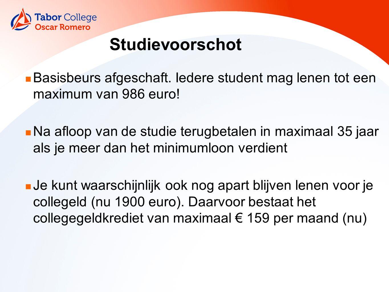 Studievoorschot Basisbeurs afgeschaft. Iedere student mag lenen tot een maximum van 986 euro.
