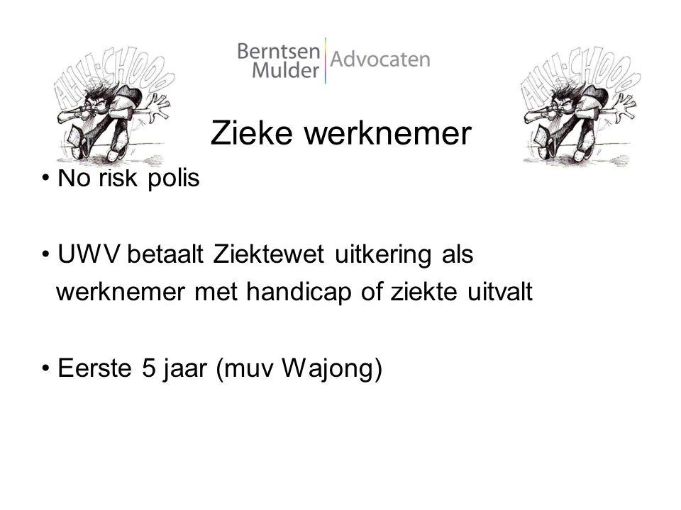 Zieke werknemer No risk polis UWV betaalt Ziektewet uitkering als werknemer met handicap of ziekte uitvalt Eerste 5 jaar (muv Wajong)
