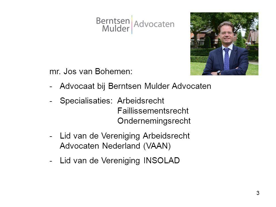 3 mr. Jos van Bohemen: -Advocaat bij Berntsen Mulder Advocaten -Specialisaties:Arbeidsrecht Faillissementsrecht Ondernemingsrecht -Lid van de Verenigi