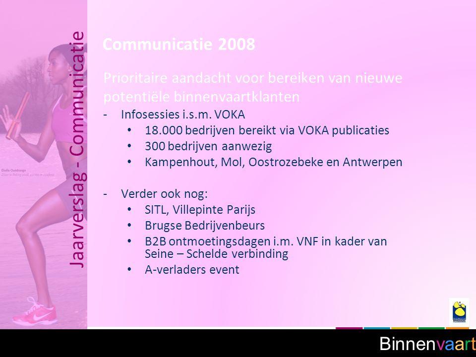 Binnenvaart Jaarverslag - Communicatie Communicatie 2008 Prioritaire aandacht voor bereiken van nieuwe potentiële binnenvaartklanten -Infosessies i.s.m.