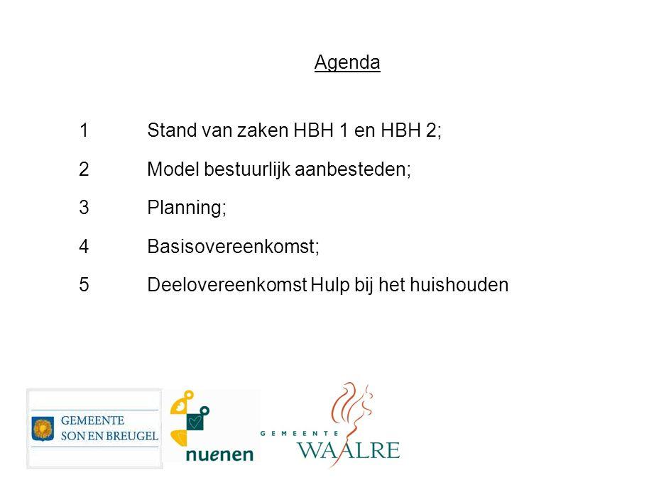 Agenda 1Stand van zaken HBH 1 en HBH 2; 2Model bestuurlijk aanbesteden; 3Planning; 4Basisovereenkomst; 5Deelovereenkomst Hulp bij het huishouden