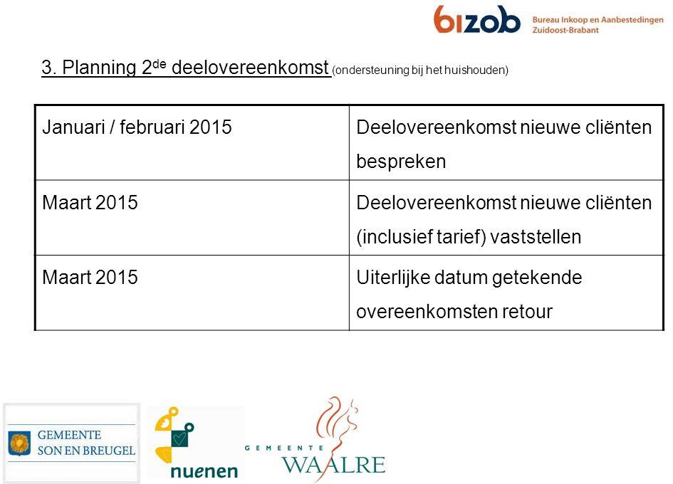3. Planning 2 de deelovereenkomst (ondersteuning bij het huishouden) Januari / februari 2015 Deelovereenkomst nieuwe cliënten bespreken Maart 2015 Dee