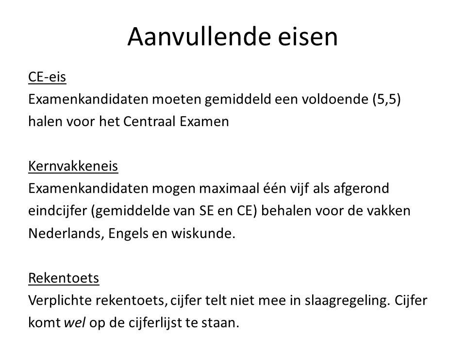 Aanvullende eisen CE-eis Examenkandidaten moeten gemiddeld een voldoende (5,5) halen voor het Centraal Examen Kernvakkeneis Examenkandidaten mogen max