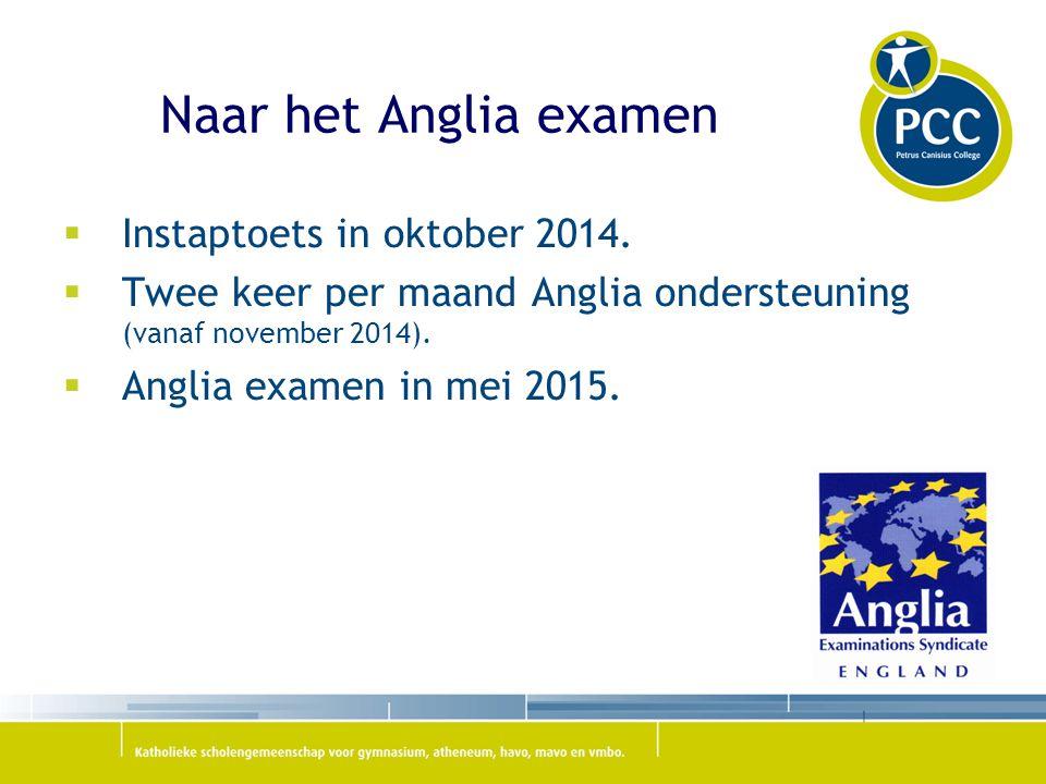 Naar het Anglia examen  Instaptoets in oktober 2014.