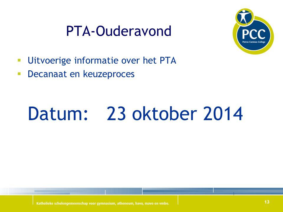 PTA-Ouderavond  Uitvoerige informatie over het PTA  Decanaat en keuzeproces Datum: 23 oktober 2014 13