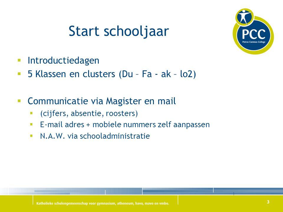 Start schooljaar  Introductiedagen  5 Klassen en clusters (Du – Fa - ak – lo2)  Communicatie via Magister en mail  (cijfers, absentie, roosters)  E-mail adres + mobiele nummers zelf aanpassen  N.A.W.