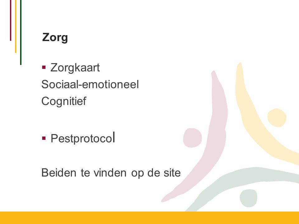 Zorg  Zorgkaart Sociaal-emotioneel Cognitief  Pestprotoco l Beiden te vinden op de site