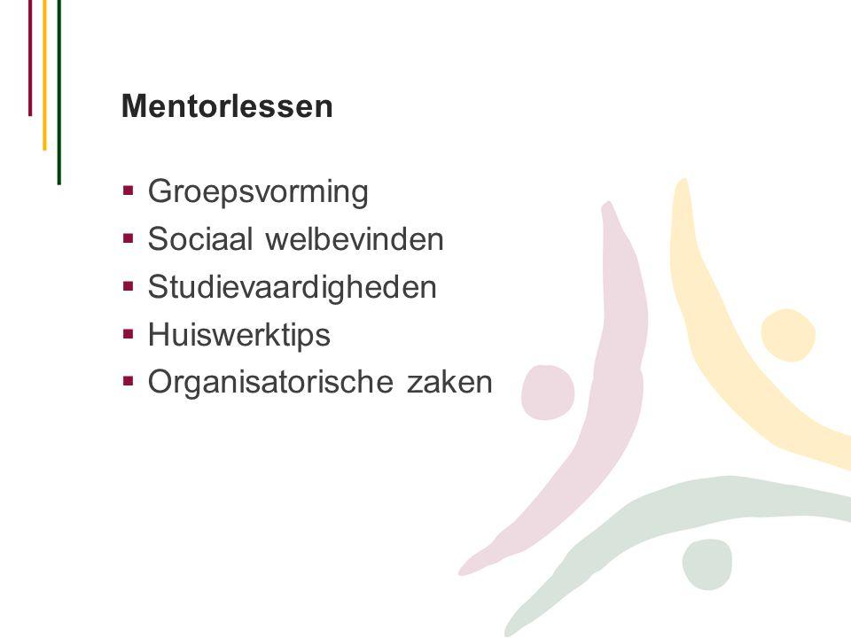 Mentorlessen  Groepsvorming  Sociaal welbevinden  Studievaardigheden  Huiswerktips  Organisatorische zaken