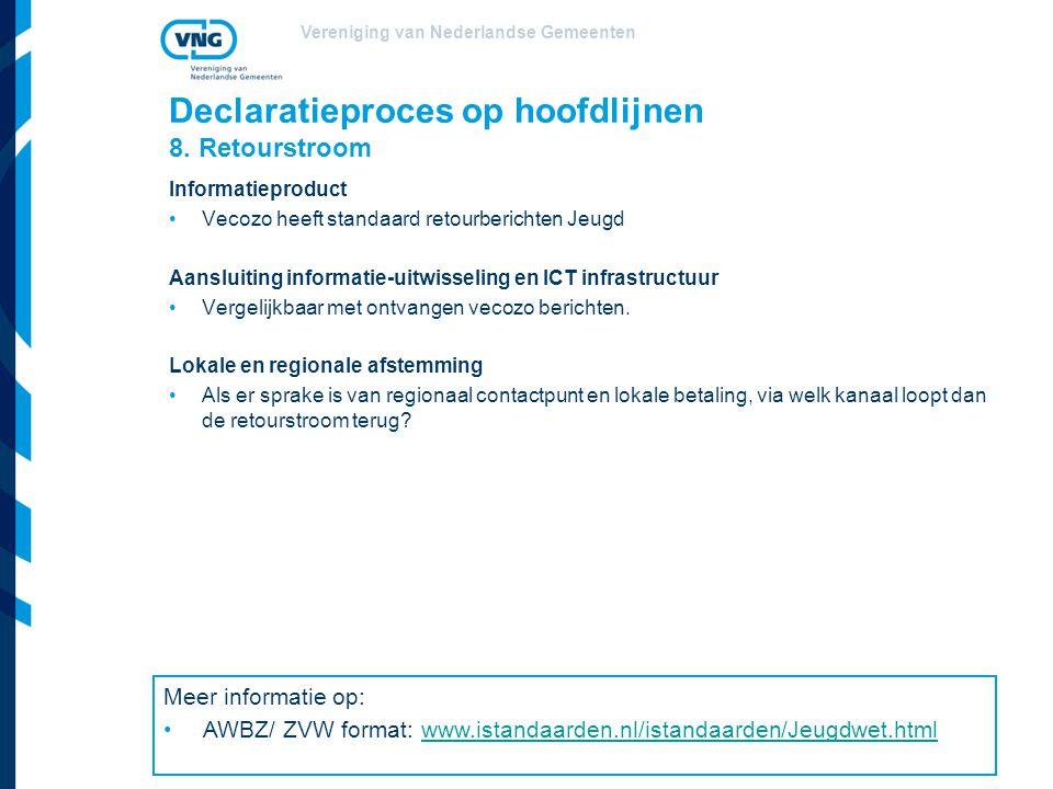 Vereniging van Nederlandse Gemeenten Declaratieproces op hoofdlijnen 8. Retourstroom Informatieproduct Vecozo heeft standaard retourberichten Jeugd Aa