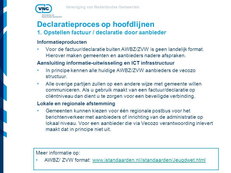 Vereniging van Nederlandse Gemeenten Declaratieproces op hoofdlijnen 1. Opstellen factuur / declaratie door aanbieder Informatieproducten Voor de fact