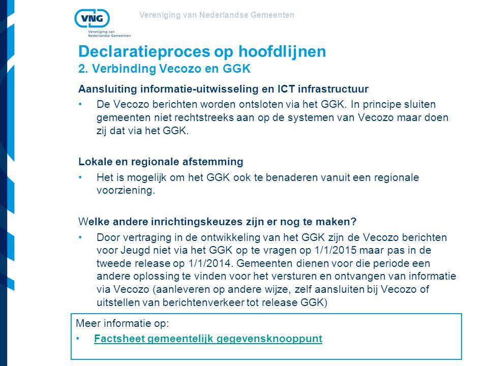 Vereniging van Nederlandse Gemeenten Declaratieproces op hoofdlijnen 2. Verbinding Vecozo en GGK Aansluiting informatie-uitwisseling en ICT infrastruc
