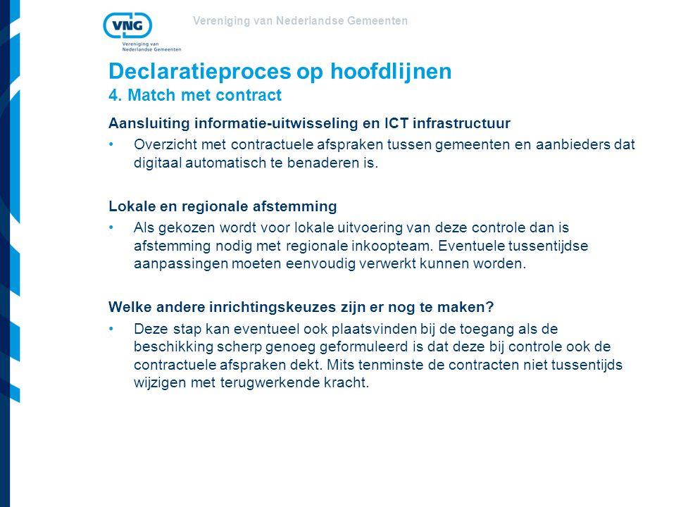 Vereniging van Nederlandse Gemeenten Declaratieproces op hoofdlijnen 4. Match met contract Aansluiting informatie-uitwisseling en ICT infrastructuur O