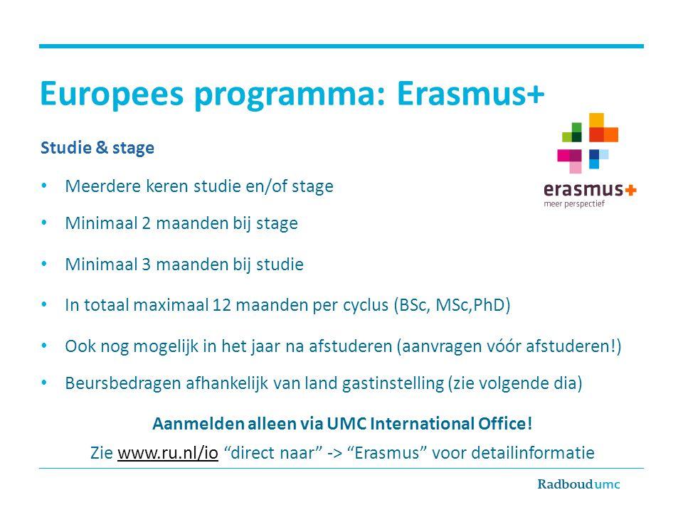 Europees programma: Erasmus+ Studie & stage Meerdere keren studie en/of stage Minimaal 2 maanden bij stage Minimaal 3 maanden bij studie In totaal max