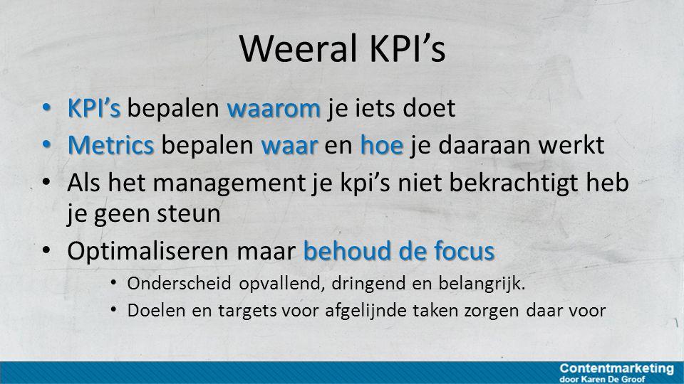 Weeral KPI's KPI'swaarom KPI's bepalen waarom je iets doet Metricswaarhoe Metrics bepalen waar en hoe je daaraan werkt Als het management je kpi's nie