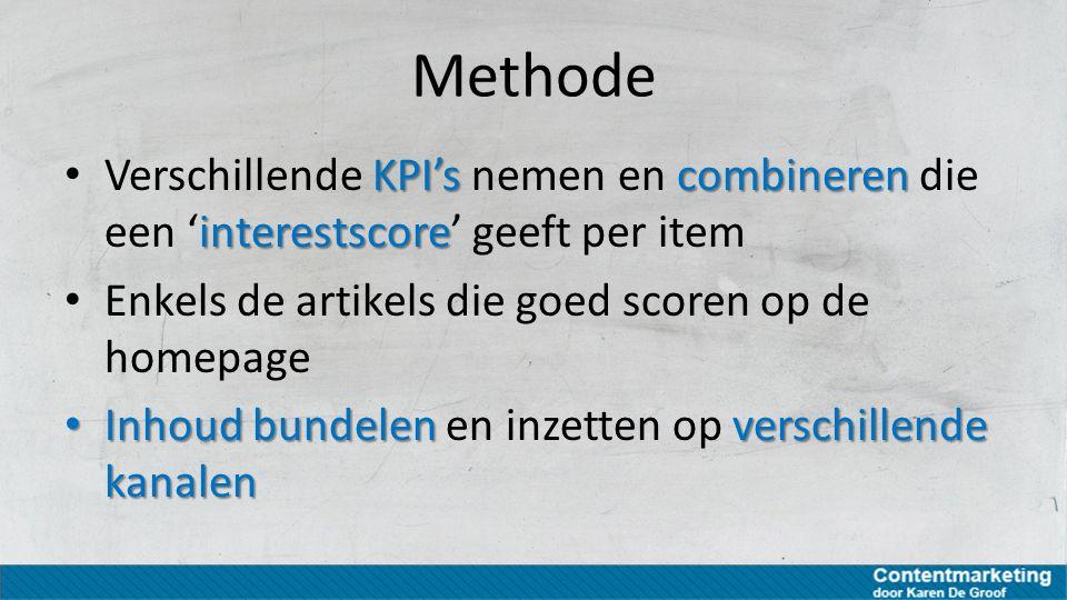 Methode KPI'scombineren interestscore Verschillende KPI's nemen en combineren die een 'interestscore' geeft per item Enkels de artikels die goed score