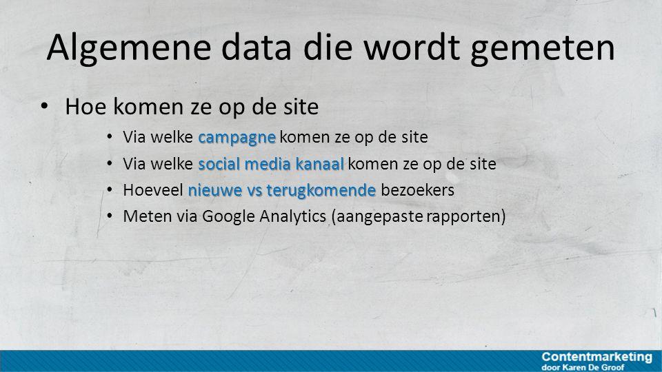 Algemene data die wordt gemeten Hoe komen ze op de site campagne Via welke campagne komen ze op de site social media kanaal Via welke social media kan