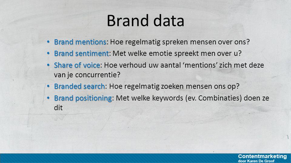 Brand data Brand mentions Brand mentions: Hoe regelmatig spreken mensen over ons? Brand sentiment Brand sentiment: Met welke emotie spreekt men over u