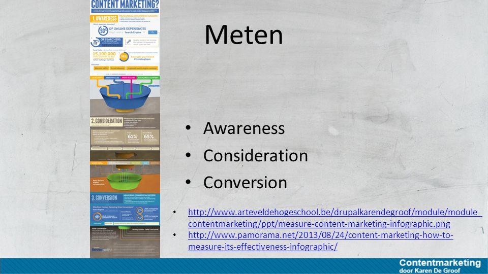 Continu proces optimizing 'Tracking user performance and feedback is key to optimizing' Meten – bijsturen – meten Meten – bijsturen – meten Bereik Sentiment Engagement elk stukje content Impact van elk stukje content meten