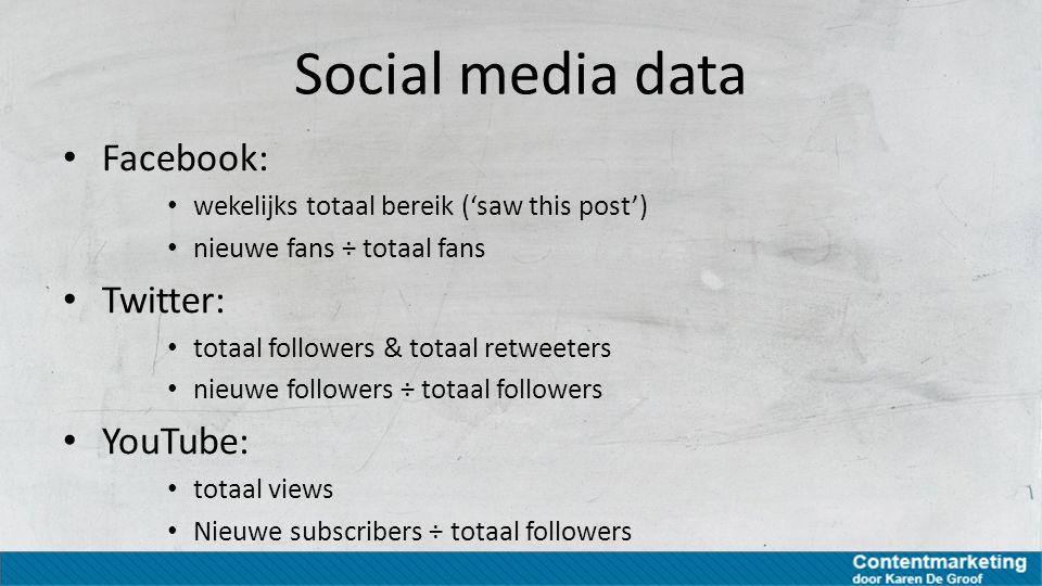 Social media data Facebook: wekelijks totaal bereik ('saw this post') nieuwe fans ÷ totaal fans Twitter: totaal followers & totaal retweeters nieuwe f