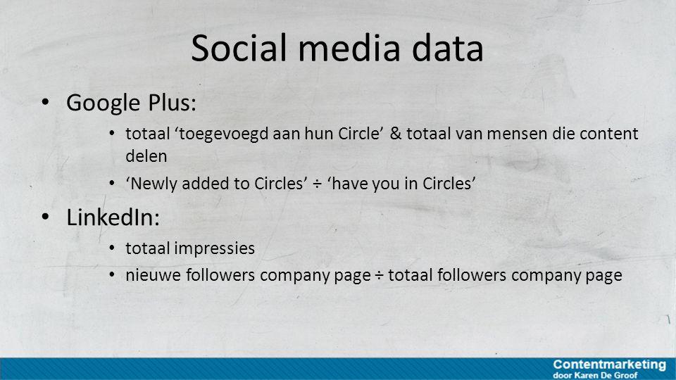 Social media data Google Plus: totaal 'toegevoegd aan hun Circle' & totaal van mensen die content delen 'Newly added to Circles' ÷ 'have you in Circle