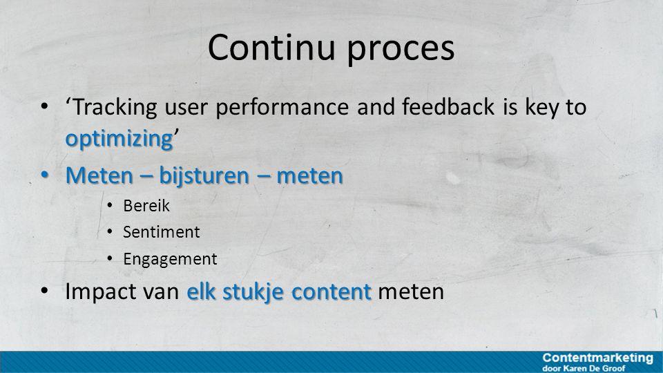 Meetbare doelen Als content marketing wordt ingezet om een boodschap te laten delen = tactiek De gekozen tactiek kan aan meetbare doelen worden verbonden Voorbeeld: Strategie van 'brand awareness' kan worden vertaald naar een tactiek van 'content sharing'.