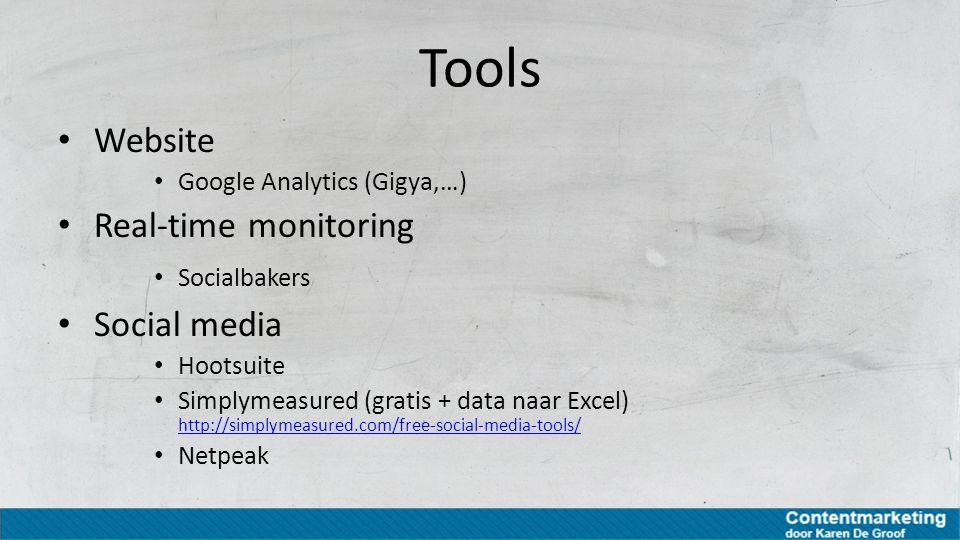 Tools Website Google Analytics (Gigya,…) Real-time monitoring Socialbakers Social media Hootsuite Simplymeasured (gratis + data naar Excel) http://sim