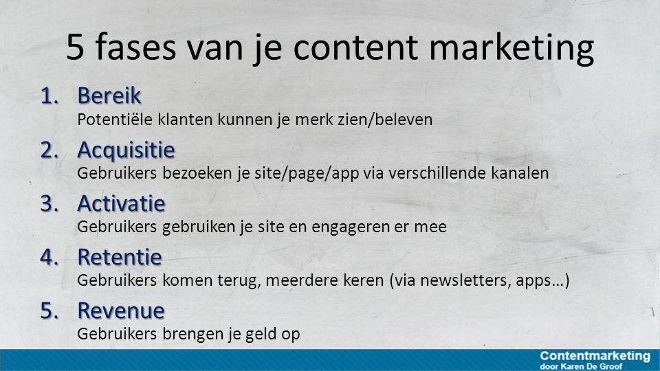 5 fases van je content marketing 1.Bereik 1.Bereik Potentiële klanten kunnen je merk zien/beleven 2.Acquisitie 2.Acquisitie Gebruikers bezoeken je sit