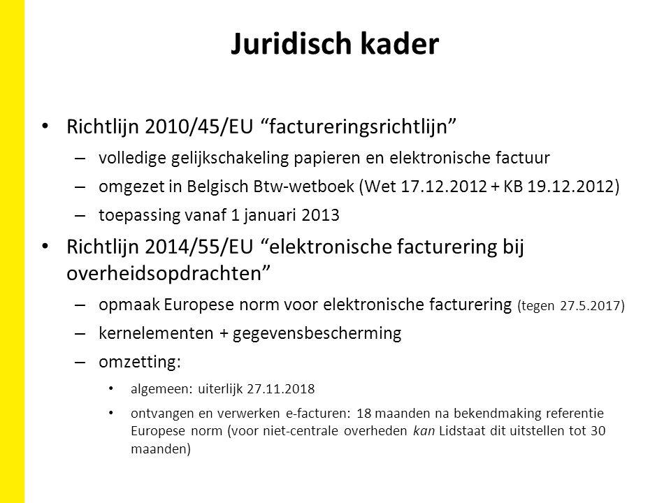 Juridisch kader Richtlijn 2010/45/EU factureringsrichtlijn – volledige gelijkschakeling papieren en elektronische factuur – omgezet in Belgisch Btw-wetboek (Wet 17.12.2012 + KB 19.12.2012) – toepassing vanaf 1 januari 2013 Richtlijn 2014/55/EU elektronische facturering bij overheidsopdrachten – opmaak Europese norm voor elektronische facturering (tegen 27.5.2017) – kernelementen + gegevensbescherming – omzetting: algemeen: uiterlijk 27.11.2018 ontvangen en verwerken e-facturen: 18 maanden na bekendmaking referentie Europese norm (voor niet-centrale overheden kan Lidstaat dit uitstellen tot 30 maanden)
