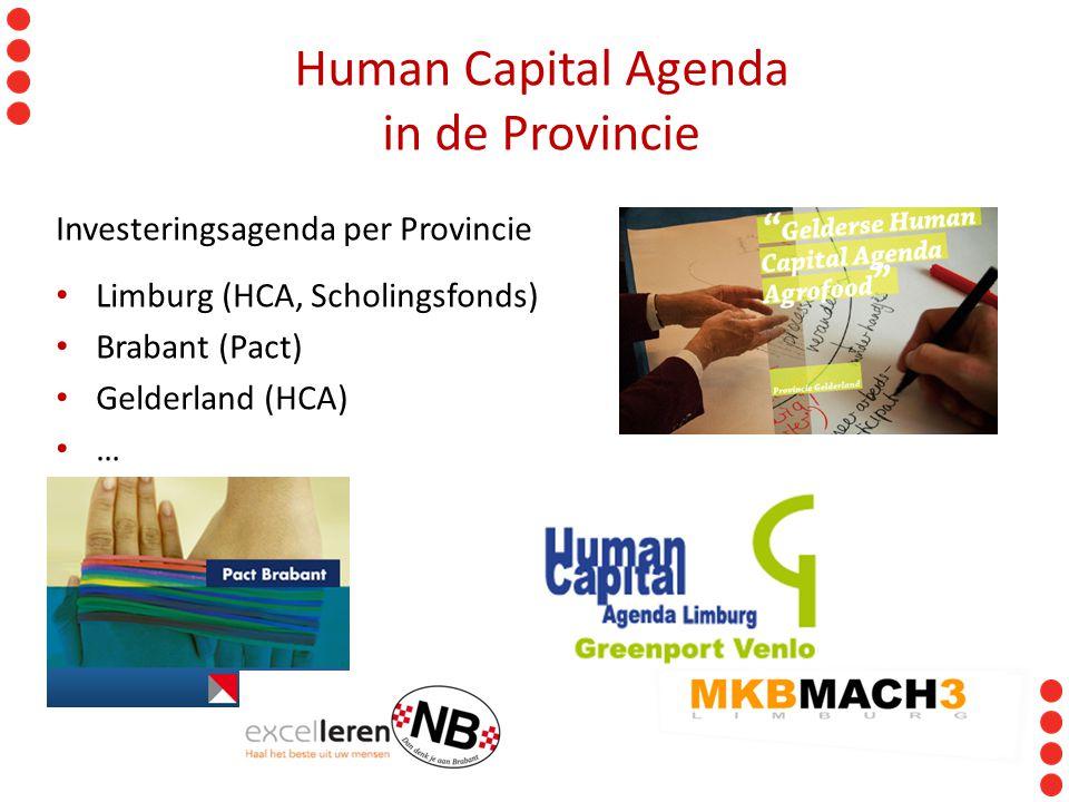 Human Capital Agenda in de Provincie Investeringsagenda per Provincie Limburg (HCA, Scholingsfonds) Brabant (Pact) Gelderland (HCA) …