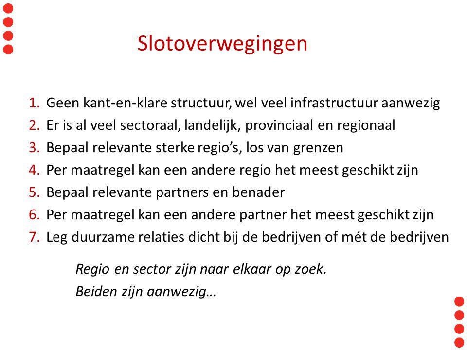 Slotoverwegingen 1.Geen kant-en-klare structuur, wel veel infrastructuur aanwezig 2.Er is al veel sectoraal, landelijk, provinciaal en regionaal 3.Bep