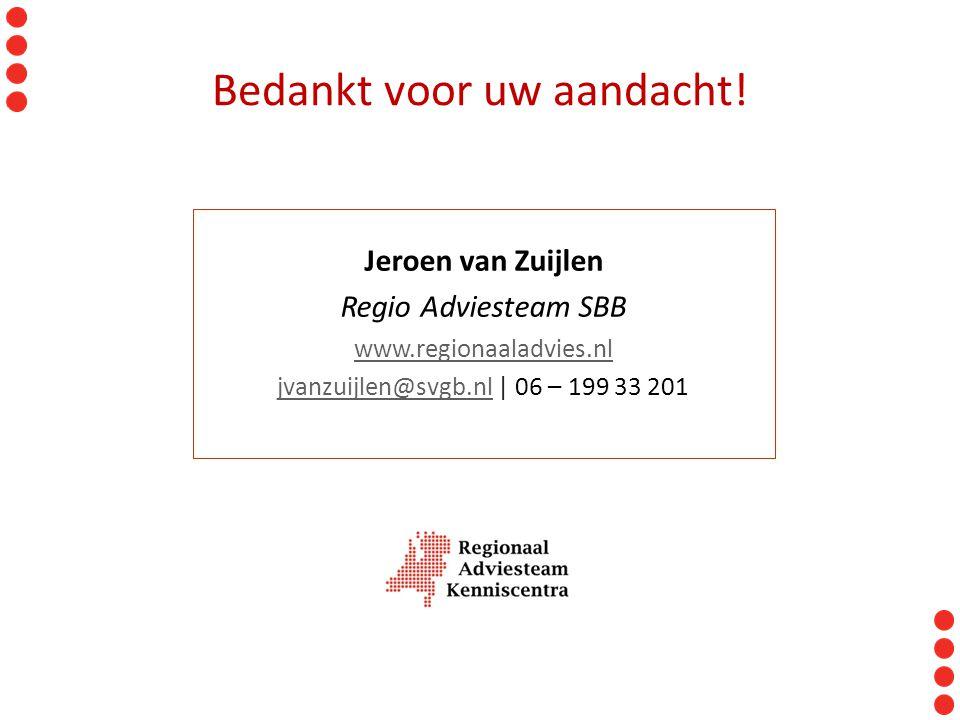 Jeroen van Zuijlen Regio Adviesteam SBB www.regionaaladvies.nl jvanzuijlen@svgb.nljvanzuijlen@svgb.nl | 06 – 199 33 201 Bedankt voor uw aandacht!