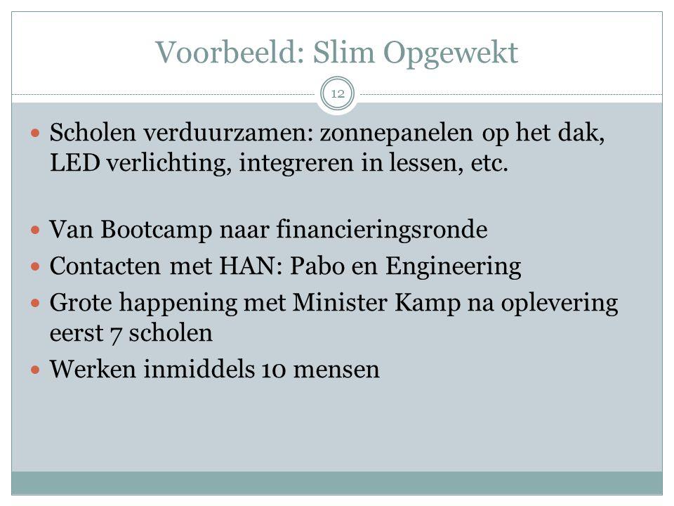 Voorbeeld: Slim Opgewekt 12 Scholen verduurzamen: zonnepanelen op het dak, LED verlichting, integreren in lessen, etc. Van Bootcamp naar financierings
