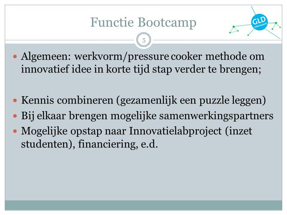 Functie Bootcamp 5 Algemeen: werkvorm/pressure cooker methode om innovatief idee in korte tijd stap verder te brengen; Kennis combineren (gezamenlijk