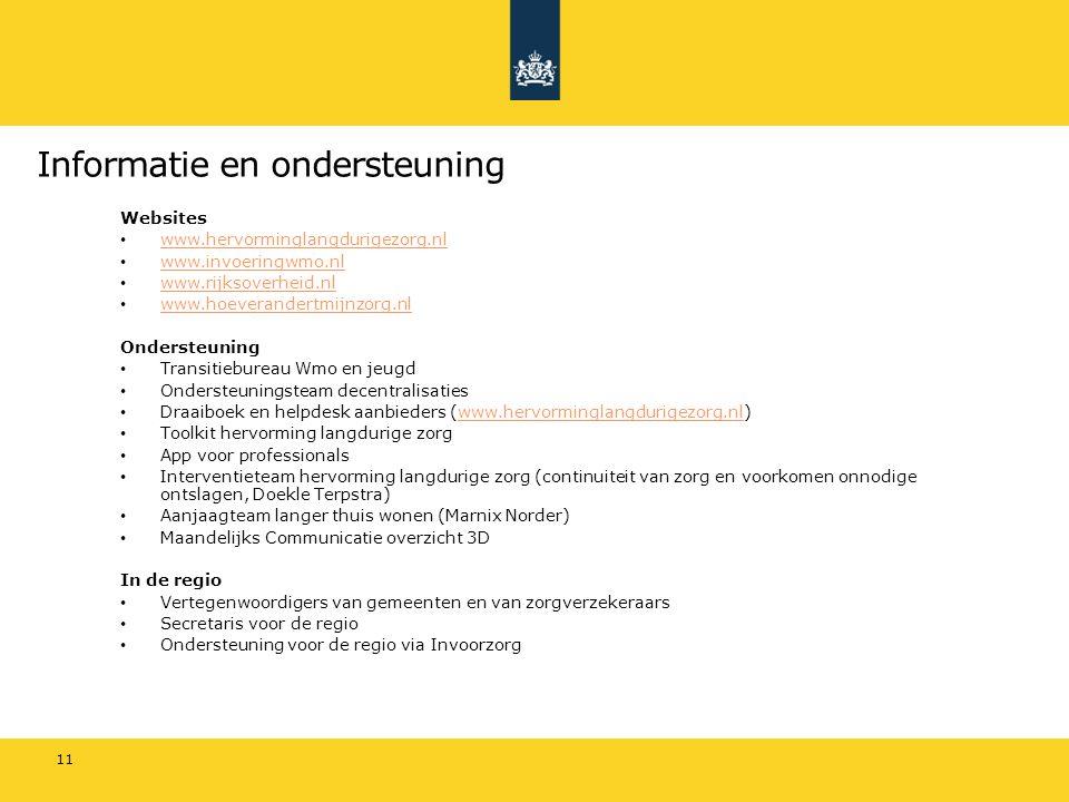 Informatie en ondersteuning Websites www.hervorminglangdurigezorg.nl www.invoeringwmo.nl www.rijksoverheid.nl www.hoeverandertmijnzorg.nl Ondersteunin