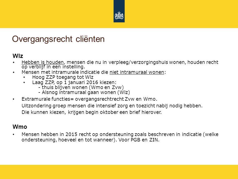 Overgangsrecht cliënten Zvw Alle mensen die op 31-12-2014 zorg ontvangen uit de AWBZ, ontvangen op 1 januari zorg van dezelfde aanbieder.