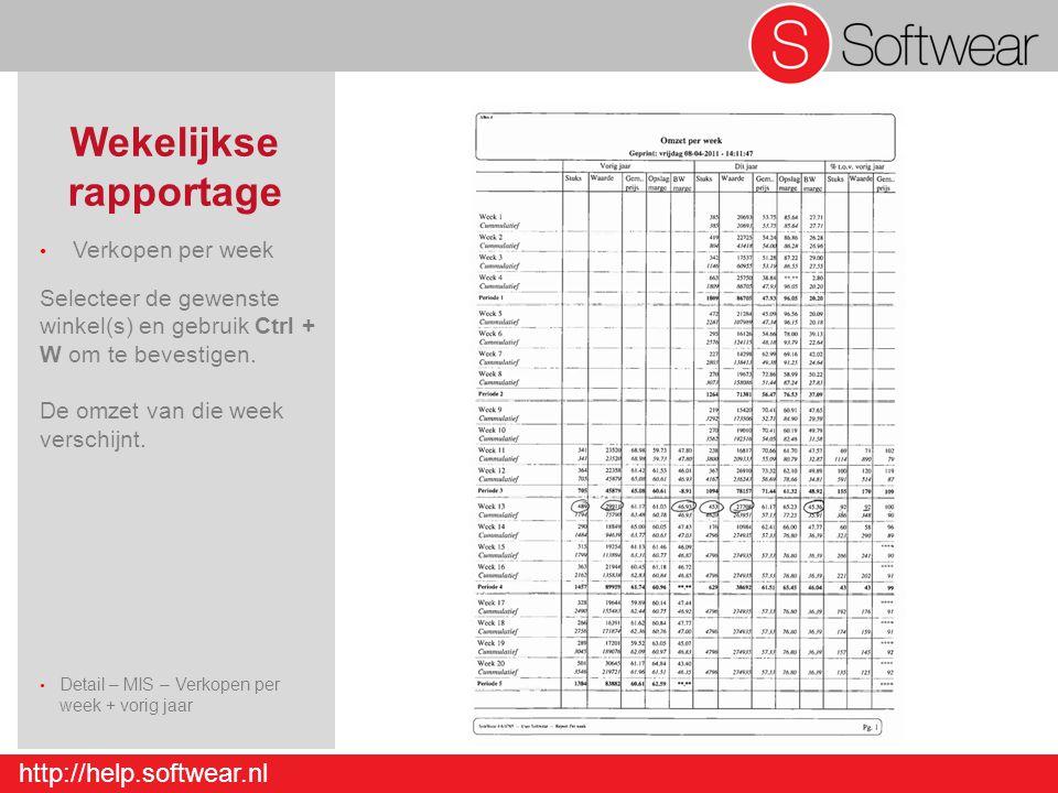 http://help.softwear.nl Wekelijkse rapportage Verkopen per week Selecteer de gewenste winkel(s) en gebruik Ctrl + W om te bevestigen. De omzet van die