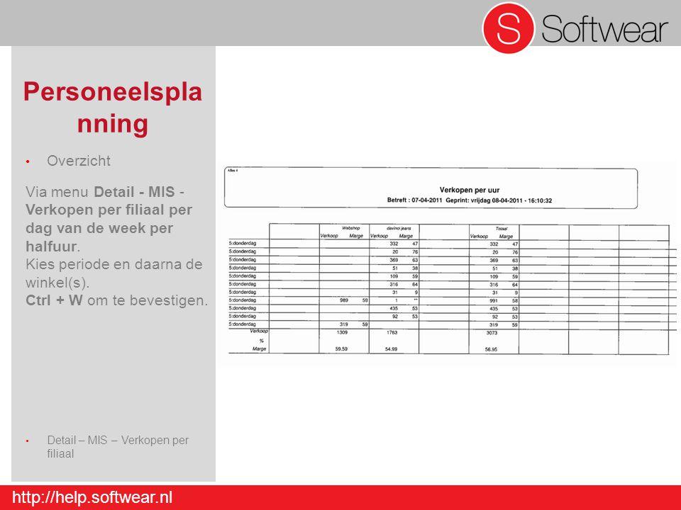 http://help.softwear.nl Personeelspla nning Overzicht Via menu Detail - MIS - Verkopen per filiaal per dag van de week per halfuur. Kies periode en da