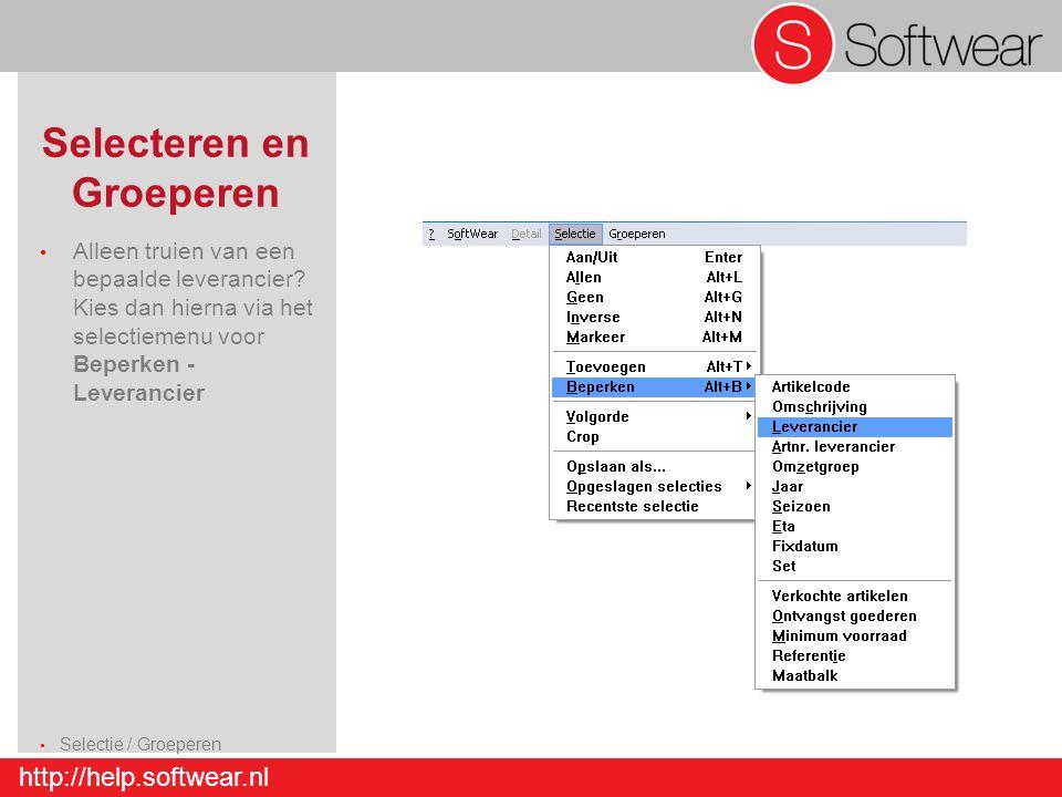 http://help.softwear.nl Selecteren en Groeperen Alleen truien van een bepaalde leverancier? Kies dan hierna via het selectiemenu voor Beperken - Lever