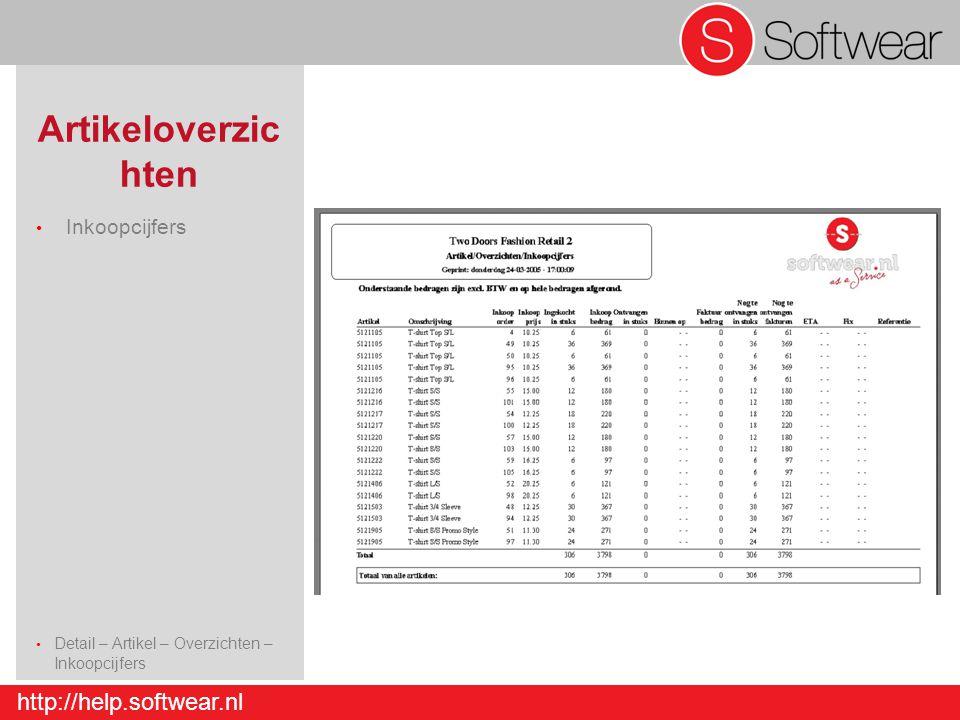 http://help.softwear.nl Artikeloverzic hten Inkoopcijfers Detail – Artikel – Overzichten – Inkoopcijfers Detail – Artikel - Invoer