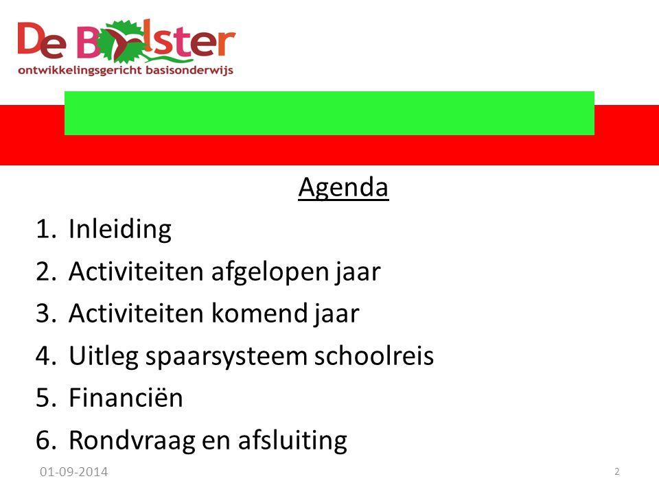 Agenda 1.Inleiding 2.Activiteiten afgelopen jaar 3.Activiteiten komend jaar 4.Uitleg spaarsysteem schoolreis 5.Financiën 6.Rondvraag en afsluiting 01-