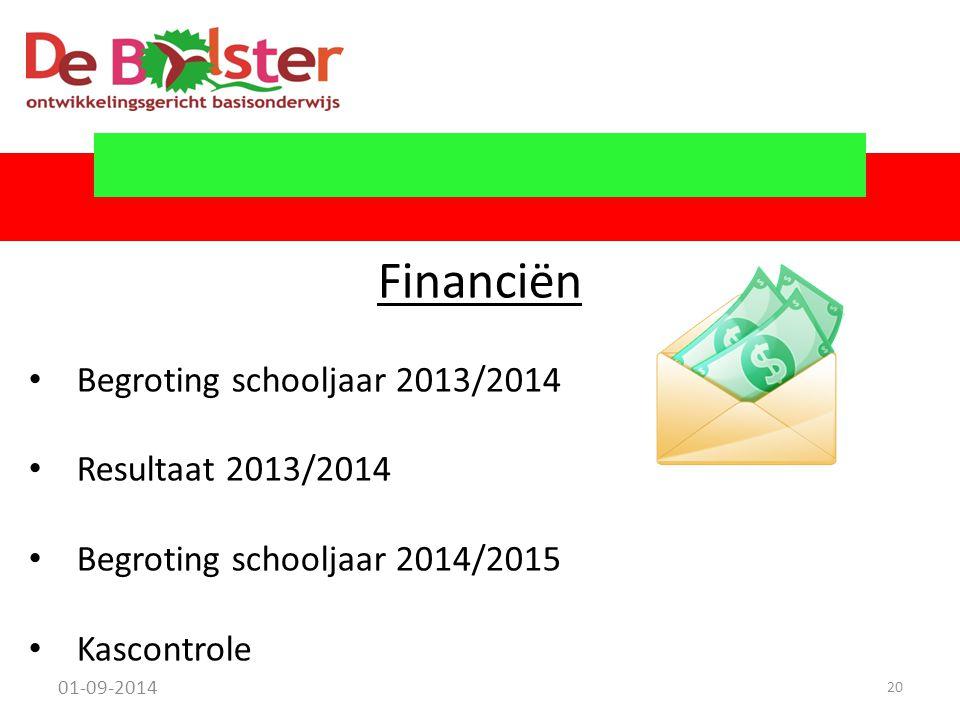 01-09-2014 20 Financiën Begroting schooljaar 2013/2014 Resultaat 2013/2014 Begroting schooljaar 2014/2015 Kascontrole