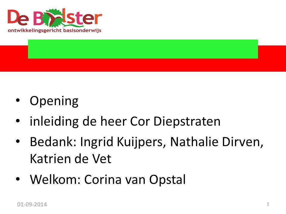 Opening inleiding de heer Cor Diepstraten Bedank: Ingrid Kuijpers, Nathalie Dirven, Katrien de Vet Welkom: Corina van Opstal 01-09-2014 3