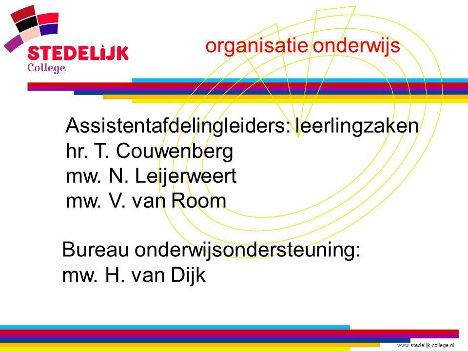 www.stedelijk-college.nl organisatie onderwijs Bureau onderwijsondersteuning: mw.