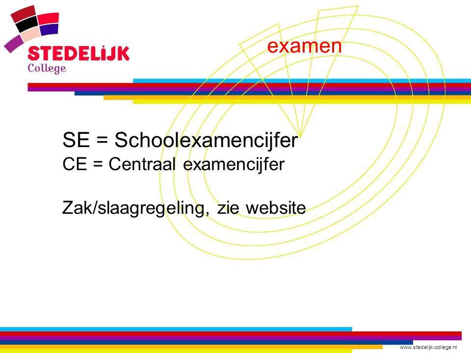 www.stedelijk-college.nl examen SE = Schoolexamencijfer CE = Centraal examencijfer Zak/slaagregeling, zie website