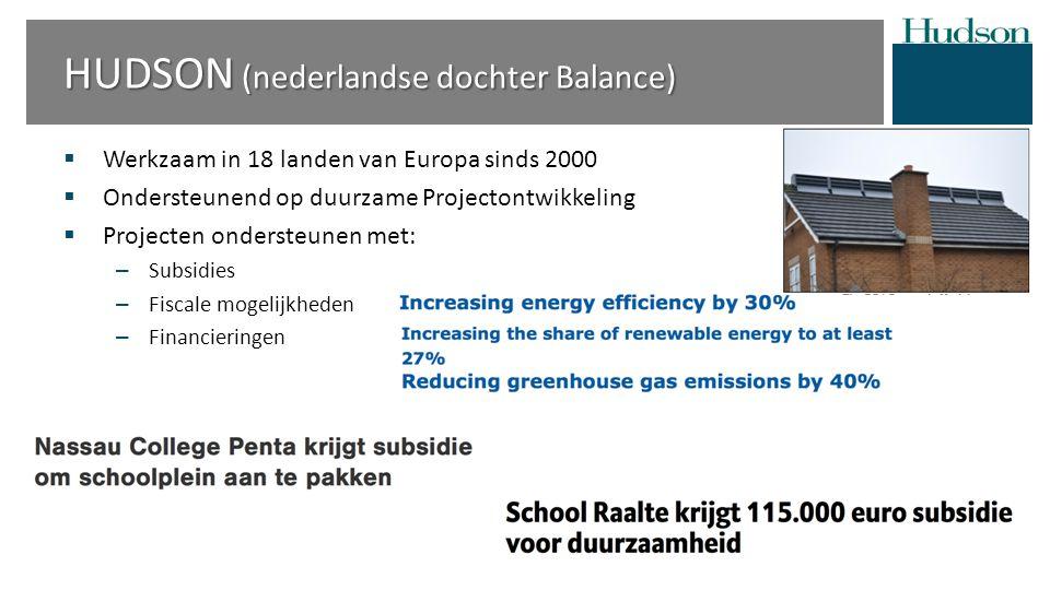  Werkzaam in 18 landen van Europa sinds 2000  Ondersteunend op duurzame Projectontwikkeling  Projecten ondersteunen met: – Subsidies – Fiscale mogelijkheden – Financieringen HUDSON (nederlandse dochter Balance)