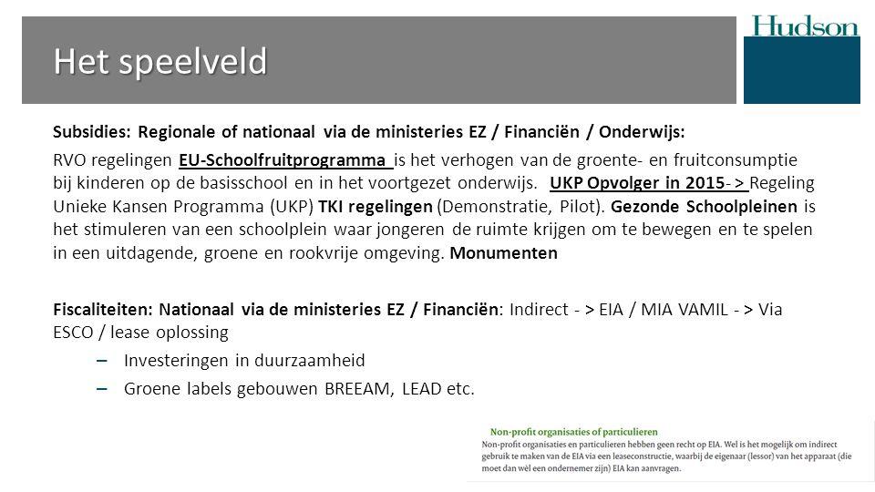 Het speelveld Subsidies: Regionale of nationaal via de ministeries EZ / Financiën / Onderwijs: RVO regelingen EU-Schoolfruitprogramma is het verhogen van de groente- en fruitconsumptie bij kinderen op de basisschool en in het voortgezet onderwijs.