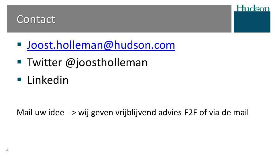  Joost.holleman@hudson.com Joost.holleman@hudson.com  Twitter @joostholleman  Linkedin Mail uw idee - > wij geven vrijblijvend advies F2F of via de mail Contact 4
