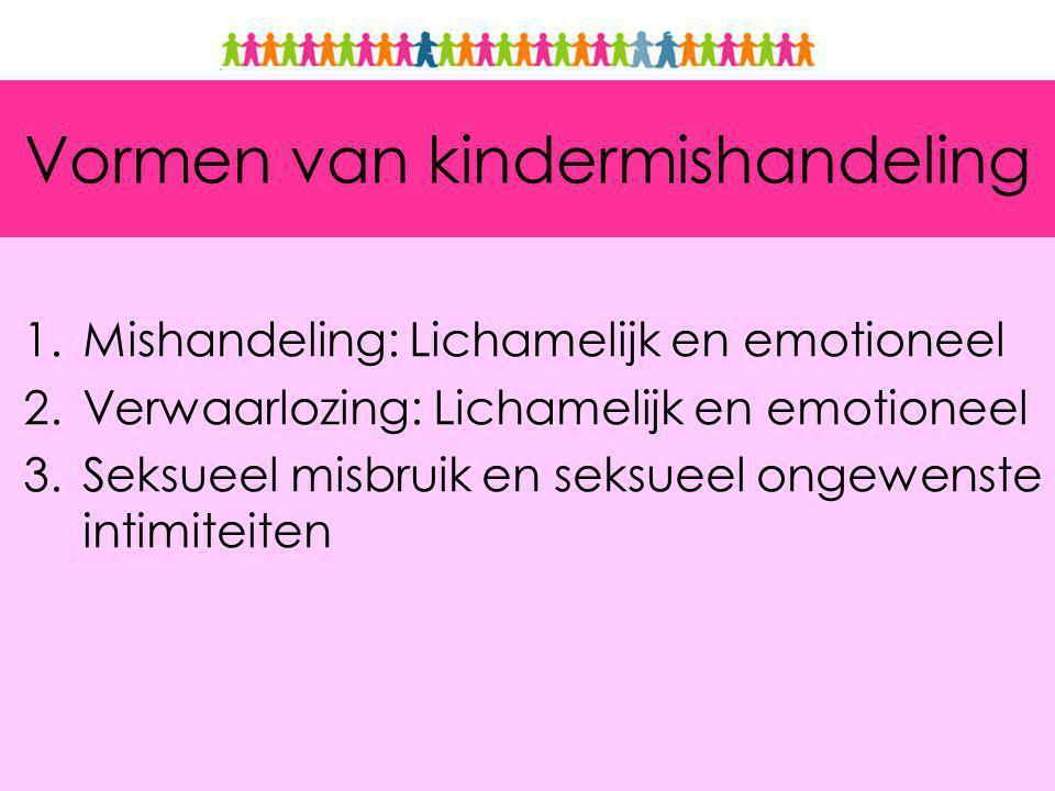 Vormen van kindermishandeling 1.Mishandeling: Lichamelijk en emotioneel 2.Verwaarlozing: Lichamelijk en emotioneel 3.Seksueel misbruik en seksueel ongewenste intimiteiten
