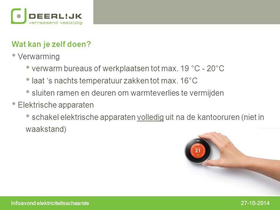 27-10-2014 Wat kan je zelf doen. Verwarming verwarm bureaus of werkplaatsen tot max.