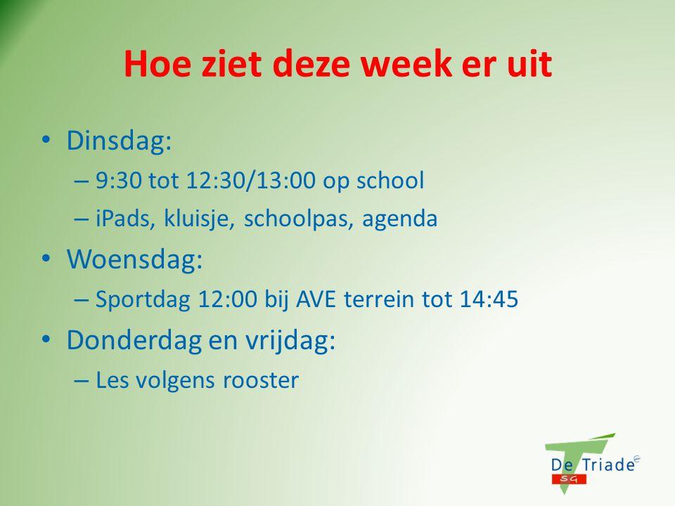 Hoe ziet deze week er uit Dinsdag: – 9:30 tot 12:30/13:00 op school – iPads, kluisje, schoolpas, agenda Woensdag: – Sportdag 12:00 bij AVE terrein tot 14:45 Donderdag en vrijdag: – Les volgens rooster